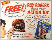 Roy Rogers Cookies Wild West Action Toy Store Sign And Premium Punch-out Card