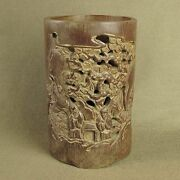 6.9big Carved With Figures Pine In Old Openwork Bamboo Brush Pot