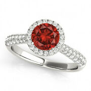 1.38 Ct Red Diamond Halo Ring Trendy Best Deal 14k Wg Valentineday Spl.sale