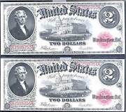 1917 2 Legal Tender-2 Consecutive United State Note-legal Tender