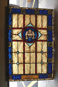 + Fine Older Stained Glass Window Gospel Book And Censer + Chalice Co. 234