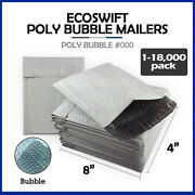 1-18000 000 4x8 Ecoswift Small Poly Bubble Mailers Padded Envelope Bags 4 X 8
