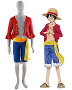 One Piece Monkey D Luffy New World Costume Outfits For Halloween And Cosplay Party