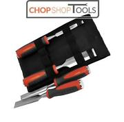 Faithfull Set Of 4 Bevel Edge Chisels Soft Grip 12,19, 25, 32mm And Storage Wallet