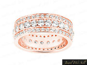 Natural 2.25ct Round Brilliant Diamond 3row Eternity Band Ring 14k Gold H Si2