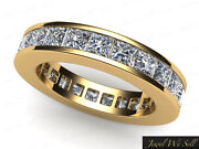 2.60ct Princess Cut Diamond Channel Eternity Band Wedding Ring 18k Gold F Vs2