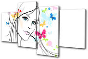 Abstract Girl Butterfly Vector Multi Canvas Wall Art Picture Print Va