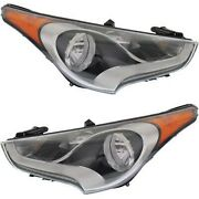 Headlight Set For 2012-2017 Hyundai Veloster Left And Right With Bulb 2pc