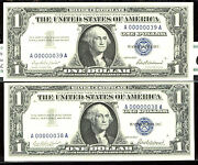 1957 1 Fr-1619 Sc 2 Consecutive-gem-38th And 39th-each Note Is 2480