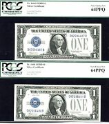 1928 D, 1 Fr 1604-2 Consecutive Silver Certificate- Pcgs 64