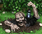 Garden And Home Large Head Shot Walking Dead Zombie Crawling Out Of Grave Solar