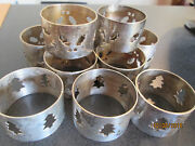 Vintage Silver Plated 10 Pc. Set Of Christmas Holiday Napkin Rings Table Decor
