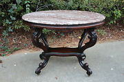 Fine Large Fancy Victorian Rococo Oval Brown Marble Top Center Table With Shelf