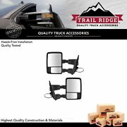 Trail Ridge Towing Mirror Power Folding Textured Black And Chrome Pair For Ford