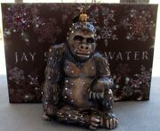 Jay Strongwater Natural Sitting Gorilla Ornament Elements New In Box