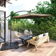 10and039 Ft Hanging Umbrella Patio Sun Shade Offset Outdoor Uv Resistant W/ Base Tan