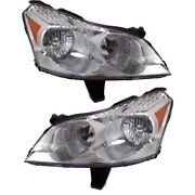 Headlight Set For 2009-2012 Chevrolet Traverse With Amber Turn Signal Light 2pc