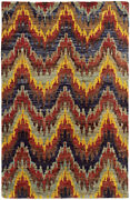 Tommy Bahama Multi Waves Curves Curls Peaks Contemporary Area Rug Abstract 50905