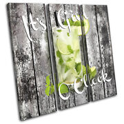 Shabby Chic Gin Drink Vintage Treble Canvas Wall Art Picture Print