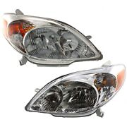 Headlights Headlamps Left And Right Pair Set New For 03-08 Toyota Matrix