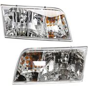 Headlight Set For 98-99 2000-2011 Ford Crown Victoria With Amber Parking Light
