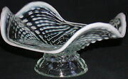Northwood Opalescent White Nautilus Argonaut Shell Footed Candy Dish