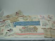 12 Vintage Cotton And Linen Kitchen Dish Towels W Hand Embroidery Great Lot