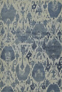 Blue Contemporary Machine Made Swirls Curls Faded Area Rug Abstract Gv1336