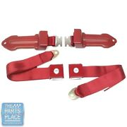 64-66 Chevrolet Cars Bowtie Lift Latch Style Front Seat Belts Dark Red Pair