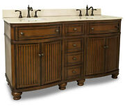 60 4 Drawer Double Bathroom Vanity Sink Cabinet Brown Finish With Cream Marble