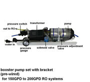Large Booster Pump Assembly 150 200gpd Ro Reverse Osmosis System Up Pressure Use