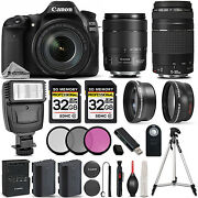 Canon Eos 80d Dslr Camera With 18-135mm Usm Lens + Canon 75-300 Iii - 64gb Kit