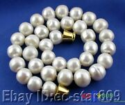 P585 Huge 17 13mm White Round Freshwater Cultured Pearl Necklace Magnet
