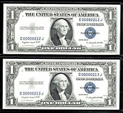 1957, 1 Fr-1619 Sc 2 Consecutive-gem Silver Certificate-212th And 213th