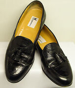 Moreschi Made In Italy Size 9n Black Leather And Reptile W/ Tassles Dress Shoes
