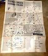 Huge Map Us Armed Forces Cartoon Map Norway Sweden Denmark Finland Amazing 1951