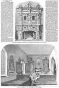 Aston Hall Scenes Around The House And Church - 2x Antique Prints 1858
