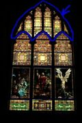 + Fine 120 Year Old Large Style Stained Glass Window + Chalice Co.