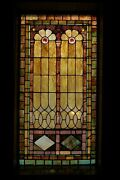 + 120 Year Old Opalescent Stained Glass Window, 34 W X 65 Ht. + Chalice Co S