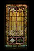 + 120 Year Old Opalescent Stained Glass Window 34 W X 65 Ht. + Chalice Co S