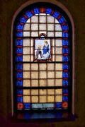 + Beautiful Antique Figural Stained Glass Window Mary W/child And St. Dominic +