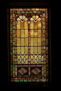 + 120 Year Old Opalescent Stained Glass Window 34 W X 65 Ht. + Chalice Co T