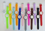 New-geneva Silicone,white Dial Mauve,pink,blue,lime Green,red,yellow,etc Watch