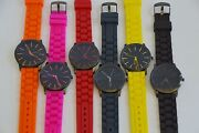 New-geneva Silicone,black Dial And Case Ip Orange,hot Pink,red,yellow,etc Watch