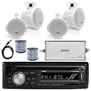 Pyle Bluetooth Marine Radio Mp3/usb Cd Am/fm, 6.5 Speakers And Wires, Amplifier
