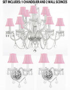3pc Lighting Set-crystal Chandelier H27 W32 And 2 Wall Sconces W/ Pink Shades