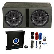 2 Kicker 43c124 600w 12 Subwoofers, Vented Lined Box Enclosure, Amp, And Wires