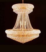 Made With Crystal Chandelier 36 Large Lead Crystal Gold Chandelier