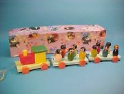 Vintage Wooden Train W/ Figures Pull Toy Boxed New Old Stock Argentina Box