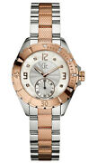 Gc Guess Collection 2,two Tone Rose Gold,silver+mop,diamond,swiss Watch A70102l1